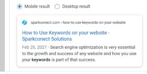The image describe how keywords is used in the title page